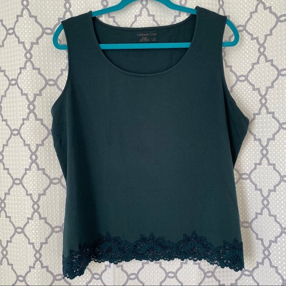 Coldwater Creek Tops - Coldwater Creek Green Tank Top with Lace Detail